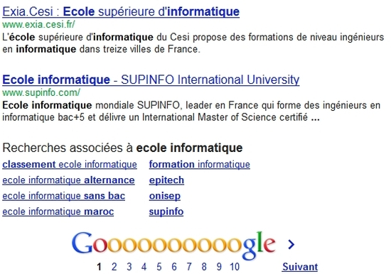 Recherche Google sur Ecole informatique