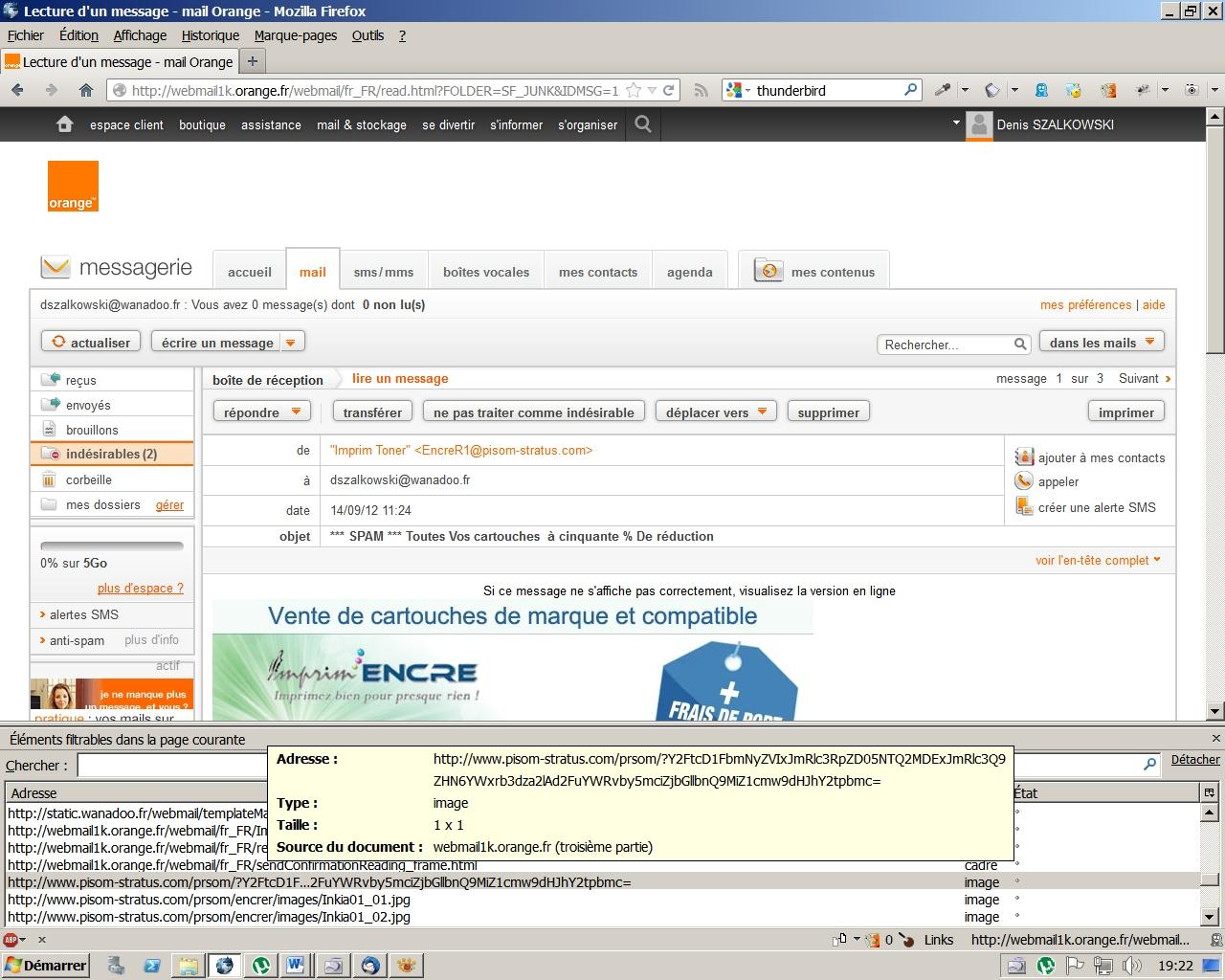 Exposition sous le Webmail fourni par Orange au pixel transparent