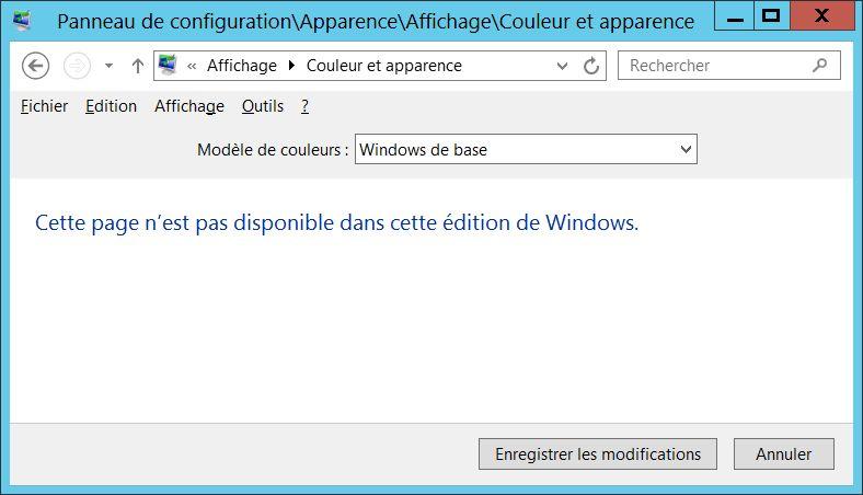 Pas de possibilité de régler la couleur et l'apparence des fenêtres sous Windows Server 2012 ?