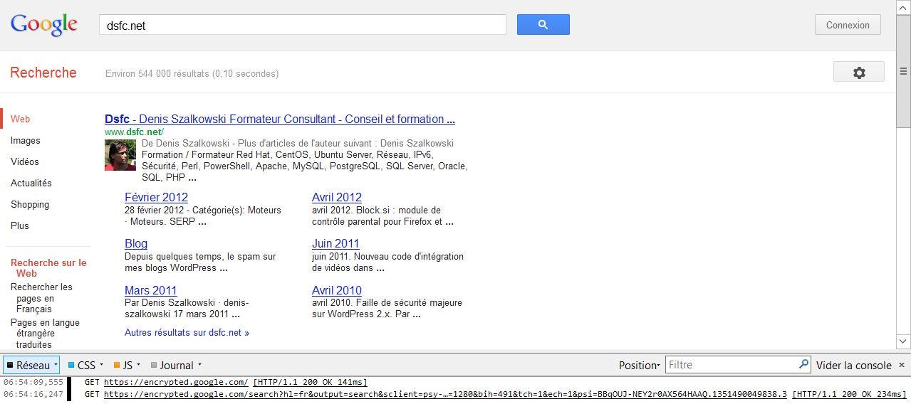Console Web Firefox 16 après filtrage
