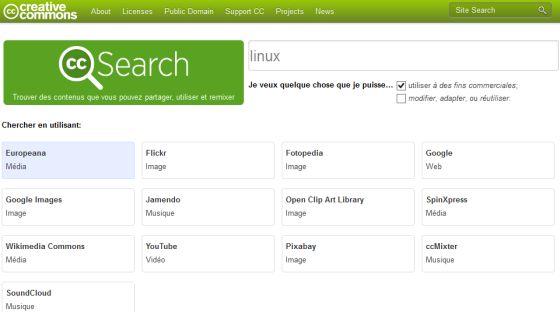 La recherche d'images libres de droit sur Creative Commons