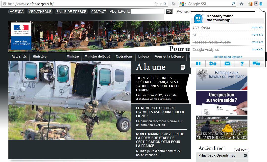 Des mouchards américains sur le site web du ministère de la Défense !