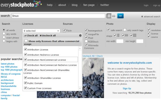 Recherche d'images libres de droit sur Everystockphoto