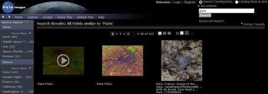 Recherche d'images sur le site de la NASA