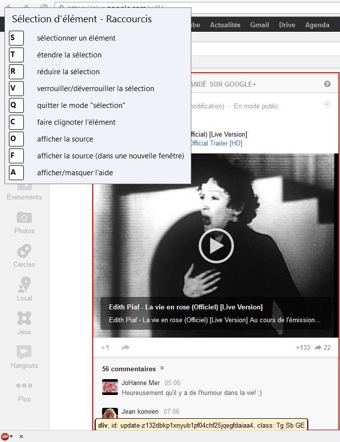 Sélectionner l'élément à éliminer des pages dans l'extension Firefox Element Hiding Helper