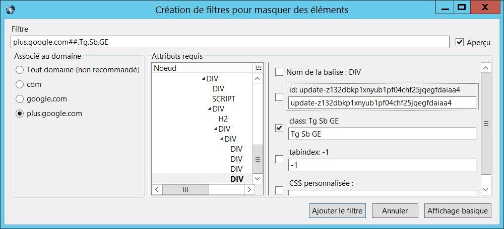Création du filtre dans AdBlock Plus à partir de l'extension Firefox Element Hiding Helper