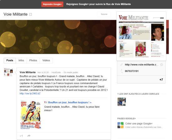 Elle était très attractive cette page de Voie Militante dans Google + !