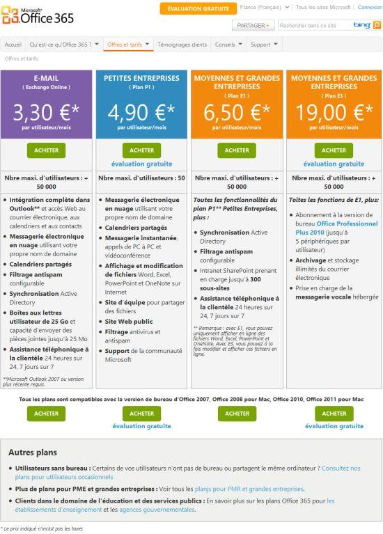Tarifs Microsoft Office 365