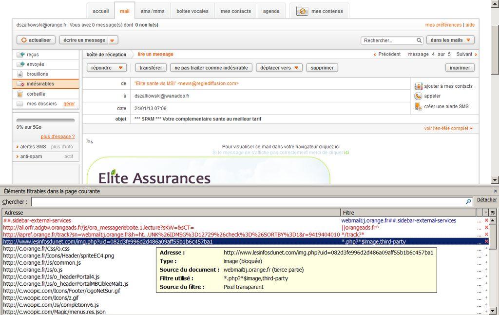 Mise en évidence du tracking dans la boîte mail d'Orange