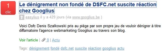 Le dénigrement non fondé de DSFC.net suscite réaction chez Googlius.