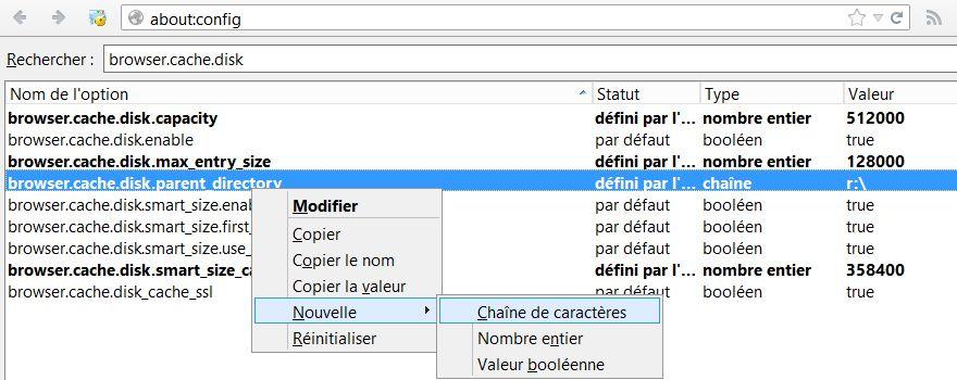 Changer l'emplacement du cache sous Firefox