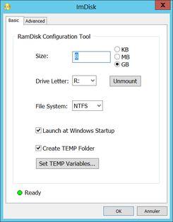 Créer un Ramdrive avec RamDiskUI combiné à ImDisk