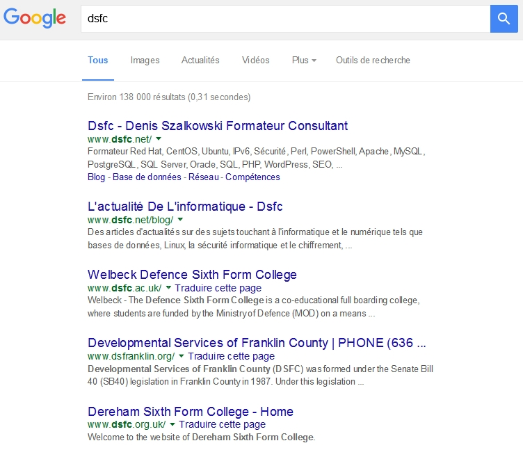 Recherche sur Dsfc via encrypted.google.com