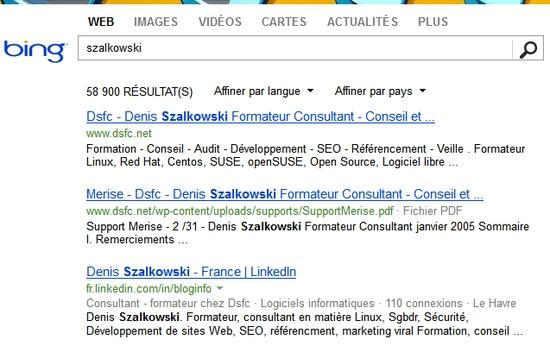 Recherche Szalkowski dans Bing