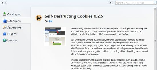 Self-Destructing Cookies sous Firefox/Waterfox