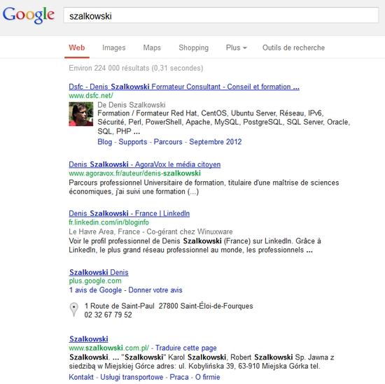 Recherche sur Szalkowski dans google.fr