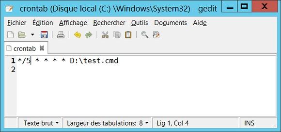 Crontab associé à Cron service sous Windows