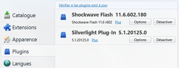 Liste des plugins installés dans Firefox