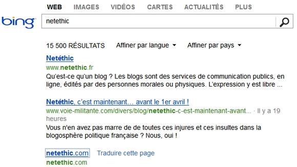Recherche dans Bing sur Netethic
