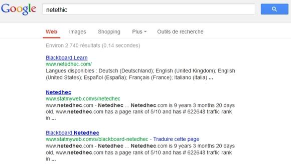 Recherche dans Google sur Netethic
