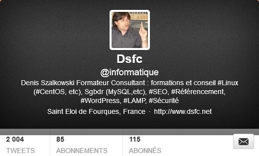 Le compte Twitter informatique de Dsfc