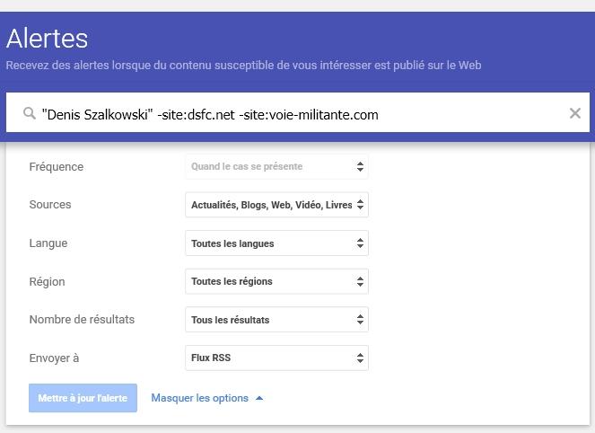 Google Alerts par flux RSS