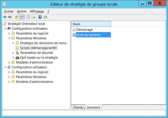 Gpedit.msc -> Stratégie de l'ordinateur local -> Configuration ordinateur -> Paramètres Windows -> Scripts -> Arrêt du système