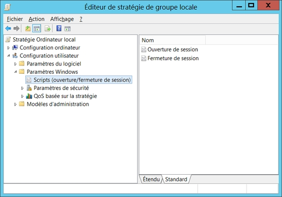 Gpedit.msc -> Stratégie de l'ordinateur local -> Configuration utilisateur -> Paramètres Windows -> Scripts -> Ouvertur de session