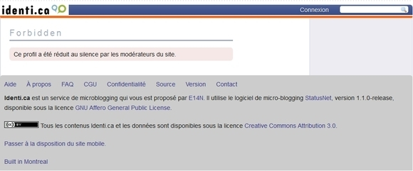 Ce profil a été réduit au silence par les modérateurs du site identi.ca