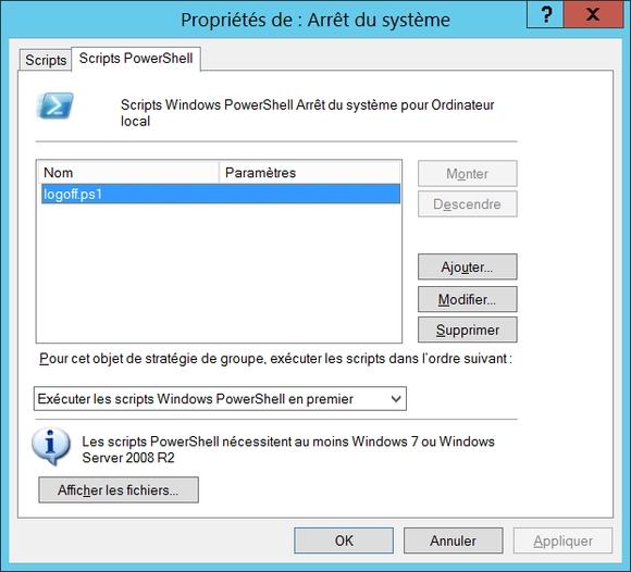 Propriétés des scripts PowerShell d'arrêt du système