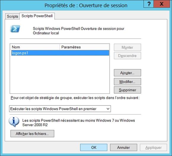 Propriétés des scripts PowerShell d'ouverture de session