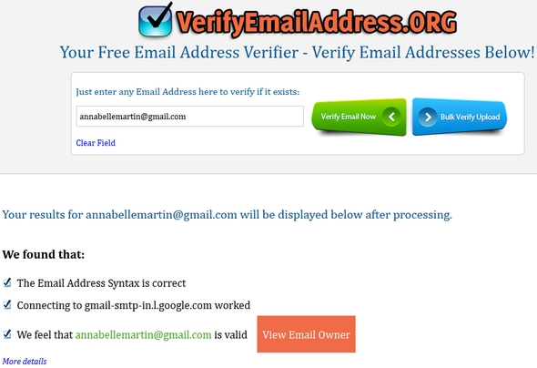 Email ID Checker avec VerifyEmailAddress.org