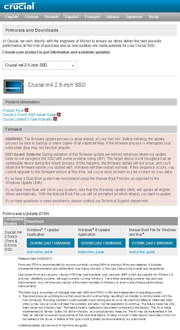 Update du firmware d'un disque Crucial m4 SSD 2.5 inch 64 Go
