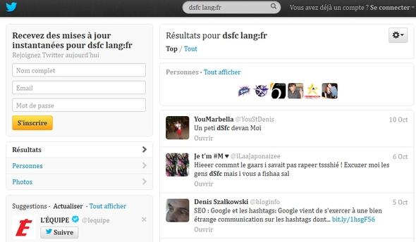 Recherche Dsfc en langue française dans Twitter