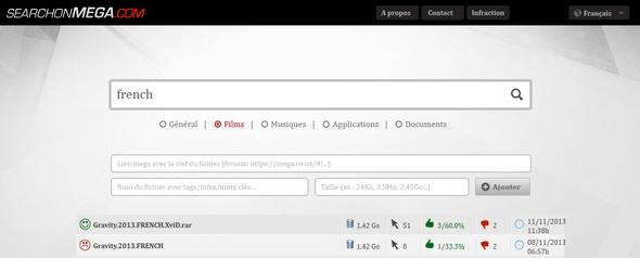 Le moteur de recherche Mega, Searchonmega.com