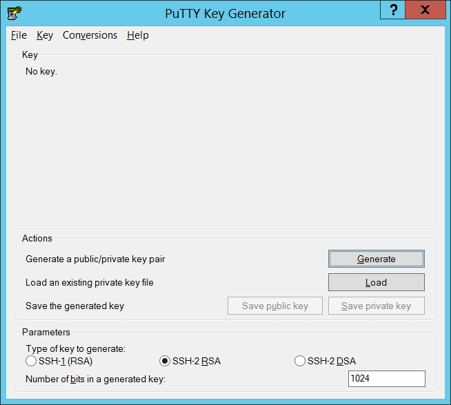 Lancement de puttygen (PuTTY key generator)