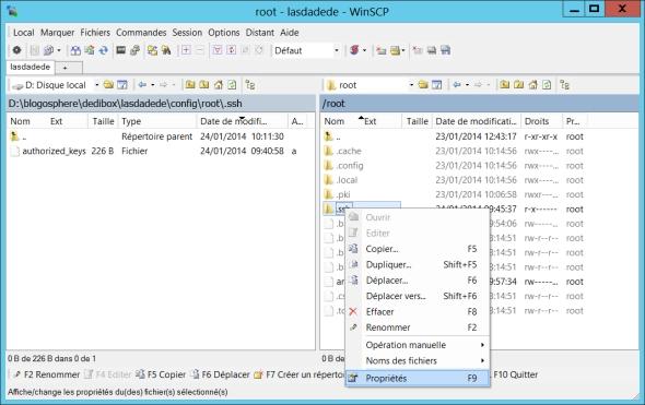 La gestion des droits dans WinSCP sur le dossier /root/.ssh