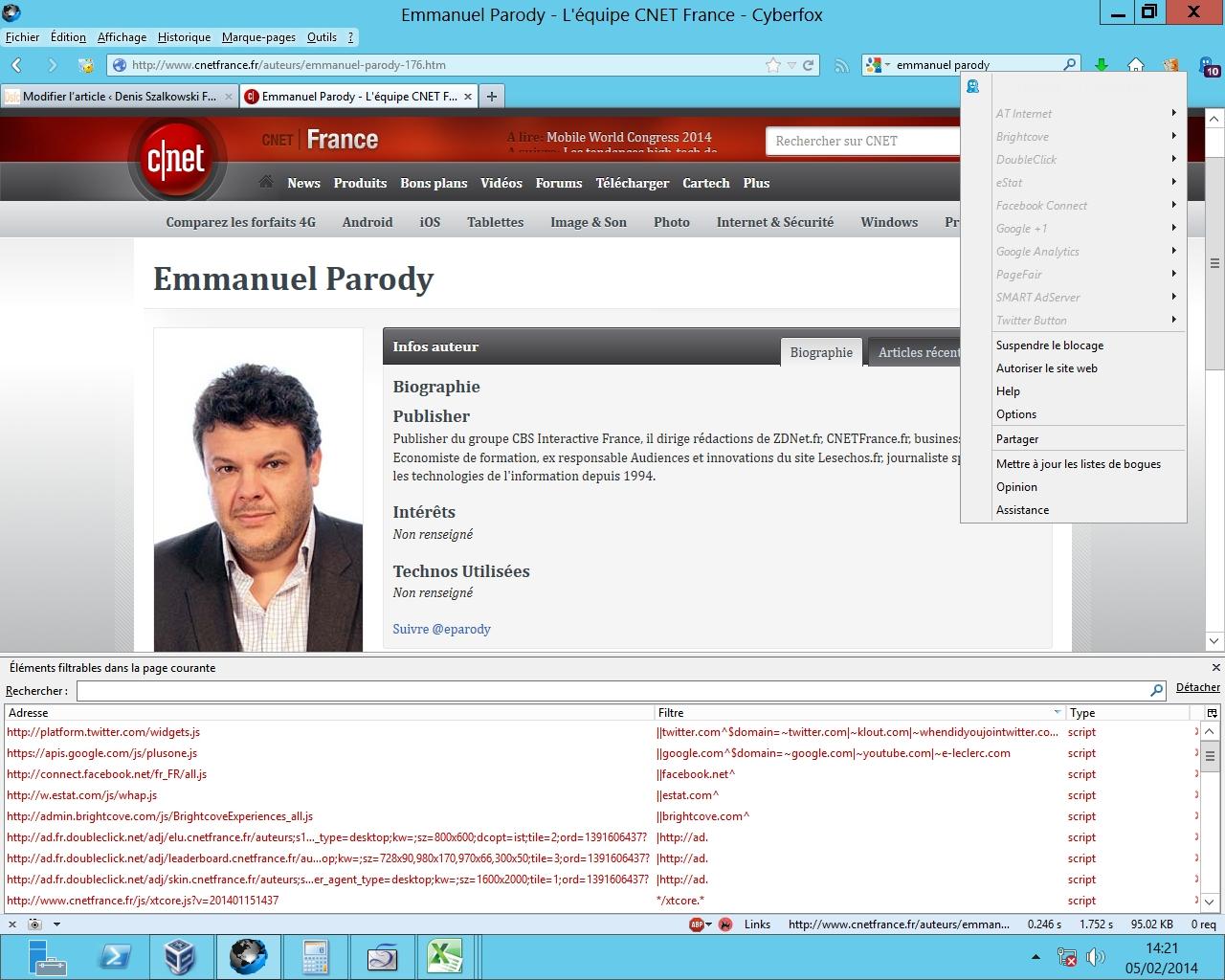 La page d'Emmanuel Parody sur CNET France