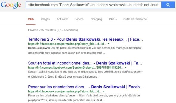 Recherche via Google dans les pages Facebook