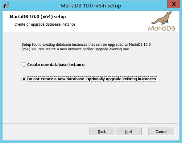 Upgrade MySQL 5.6 to MariaDB 10 on Windows