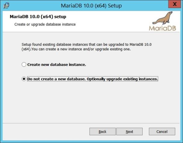 Upgrade MySQL 5.6 to MariaDB 10 on Windows