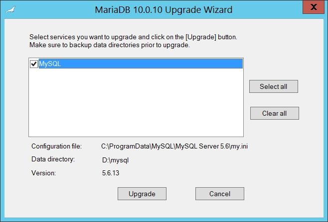 MariaDB : assistant de mise à jour à partir de MySQL