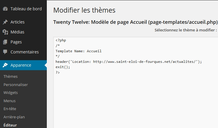 Editer le modèle de page à partir de l'interface d'administration WordPress