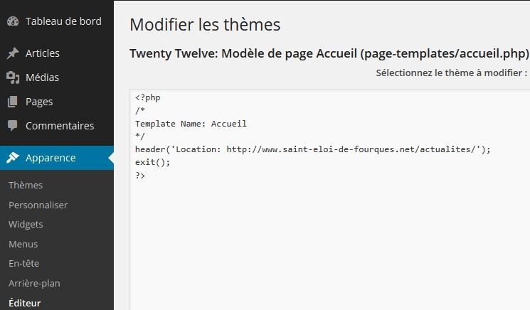Editer le modèle de page à partir de l'interface d'administration WordPress