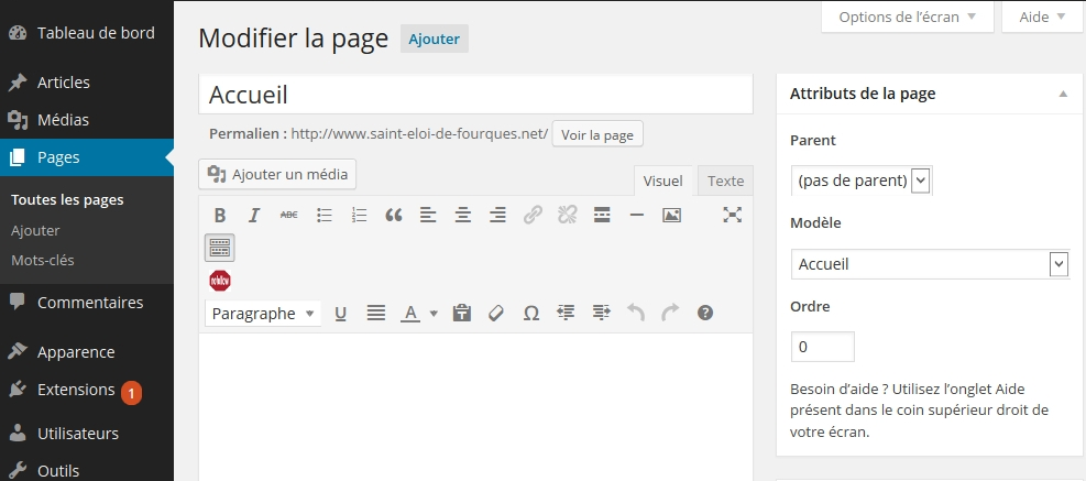 wordpress-page-avec-modele