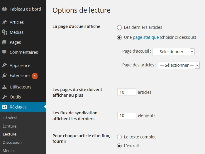 wordpress-reglages-lecture-page-statique