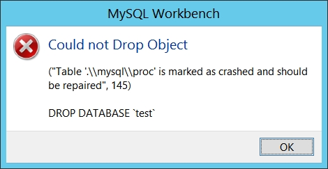 """Table '.\\mysql\\proc' is marked as crashed and should be repaired"",145"