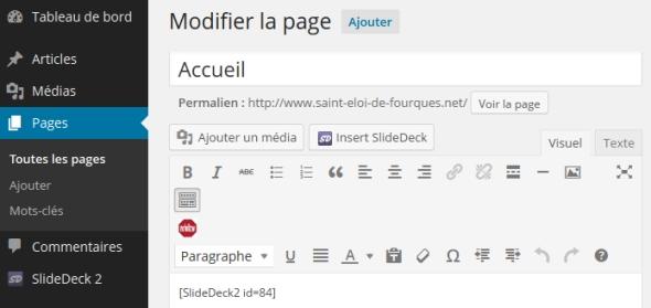 Insérer un shortcode Slidedeck 2 dans WordPress