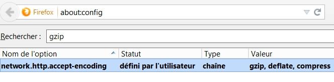 Modifier l'entête Http Accept-Encoding dans Firefox