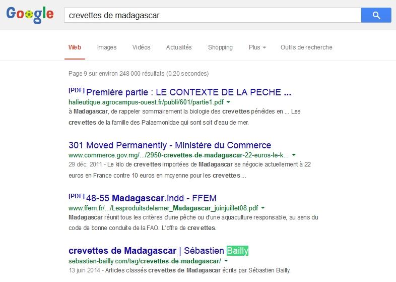 """La recherche sur """"crevettes de Madagascar"""""""